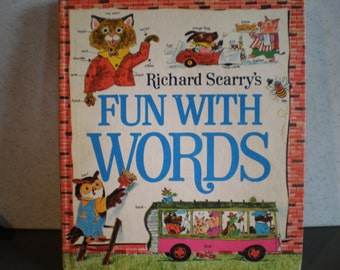 Vintage 1970's Children's Illustrated Book - Richard Scarry's Fun With Words
