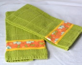 Decorative Kitchen Towels, Hand Decorated Green Towels, Set of Two Cotton Kitchen Towels, Floral Towels, Avocado Delight