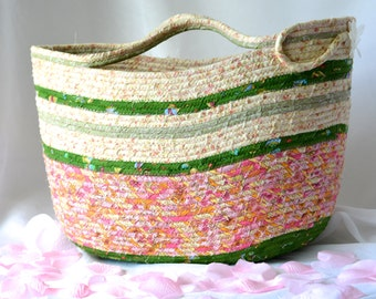 Shabby Chic Tote Bag, Handmade Moses Basket, Pink and Green Storage Organizer, Pink Beach Bag, Picnic Basket, Gift Basket