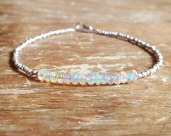 Opal Bracelet Opal Bracelets Opal Beaded Bracelets Womens Gift for Women October Birthstone Bracelet Fire Opal Bead Bracelet Opal Jewelry