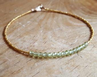 Peridot Bracelet Peridot Bracelets August Birthstone Bracelet Womens Gift for Her Peridot Bead Bracelet Gold Beaded Bracelet Peridot Jewelry