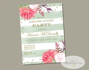 Floral Graduation Invitation | Girls Graduation party | Instant Download | Editable Text PDF