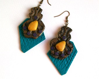 Wild oversize statement earrings modern geometric African art inspired colorful dangle earrings made from polymer clay