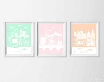 Pastel Travel Nursery , London Paris New York Art Prints , Travel City Nursery Art , Kid's Wall Art , Pink Mint Peach Paris Wall Decor Art