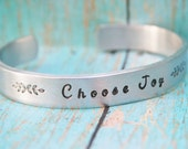 Stamped CHOOSE JOY Cuff Silver Aluminum Hand Stamped Name Women Girls Boys Toddler Childrens Jewelry Inspirational Positive LIFE Quotes
