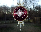 Handmade Burgundy Christmas Ornament Satin Ball Crystals Pearls Pink Gems Jewels Gold Trim Ornate Victorian