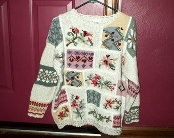 Casual Corner Vintage Sweater Knit Crochet Floral 1980's Women's Extra Large XL Rustic Retro Country