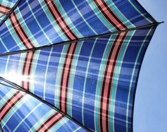 Vintage Umbrella Parasol Blue Plaid Lucite Handle Wedding Photo Prop Display Rain Sun Gear Costume Accessory Retro Mid Century Steampunk