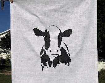 Cow T Towel - 25L X 19W, Black Print on White Fabric