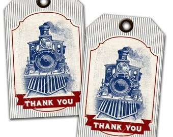 Vintage Train Party, Steam Engine, Thank You Tags, Favor Tags, Instant Download, Print Your Own