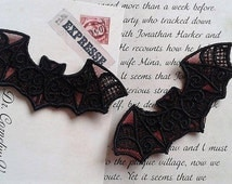 Special Offer: UK Set of 2 BLACK & RED gothic lace bat applique, trimming, choker centerpiece, cuff