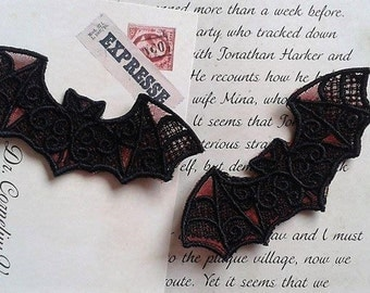 UK Set of 3 BLACK & RED gothic lace bat applique, trimming, choker centerpiece, cuff