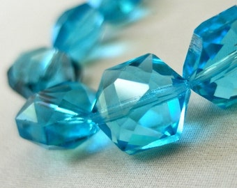 """Aqua Blue Hexagon Faceted Crystal beads, 16mm diameter x 10mm thick, 10 pieces, 6"""" strand"""