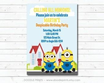 "Minion Invitation, Printable Minion Birthday Invitation, Minion Invitation Party ""Despicable Me Minions at the Neighborhood"" 5x7 or 4x6"