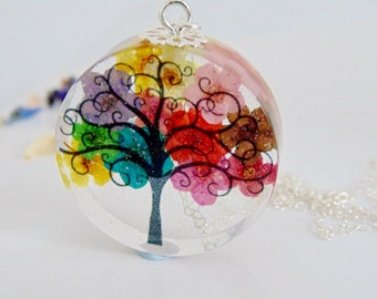 Rainbow Flower Necklace, Rainbow Tree, Faraway Tree, Pressed Flower Necklace, Botanical Jewellery, Gift for Her