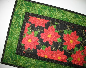 Christmas Table Runner, Poinsettias,  fabric from Quilting Treasures