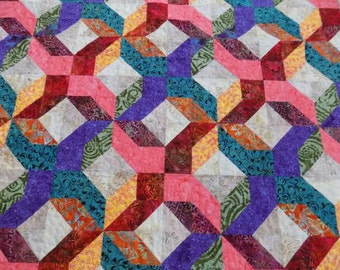 Batik Lap Quilt, Jewel Tones, Colorful
