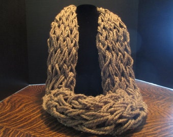 Chunky Infinity Scarf, Arm Knitted Scarf, Barley, Scarf, Infinity