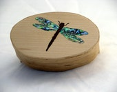 Shaker box with dragon fly inlay