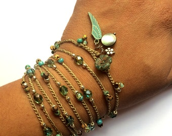 "Crochet boho wrap bracelet / necklace, ""angel"", mother's day, spring, aqua, boho jewelry, crochet jewelry, coffycrochet, gift for her"