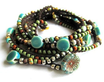 "Crochet beaded wrap bracelet / necklace, aqua, olive, ""Lola"", spring fashion, boho jewelry, crochet jewelry, boho wedding, coffy crochet"