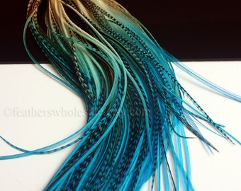 Boho Hair Accessories 10 Feather Hair Extensions Turquoise Blue Hair Feathers Diy Kit With Beads Real Feathers