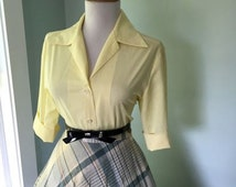 Vintage Light YELLOW Cotton 1950s 1960s Rockabilly Button Down Blouse
