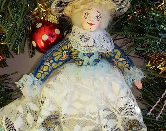 Markiza- OOAK miniature doll - Miniature Art Doll - hanging art Doll-Christmas Ornament