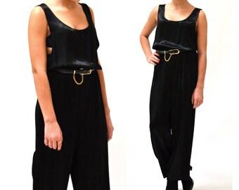 80s 90s Black Jumpsuit Size Medium Satin// Vintage Black Jumpsuit Pantsuit  Medium