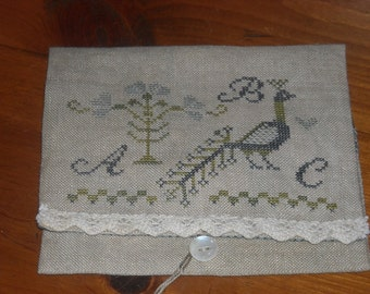 Primitive Spring Tail Feathers Needlebook - Primitive Cross Stitch - FREE US SHIPPING
