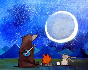 Original Nursery Wall Art Camping Bear Painting Starry Night Sky Whimsical Woodland Animals Cute Childrens Room Decor Rabbit Campfire Mouse