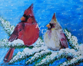 Cardinals on a Snow Covered Limb