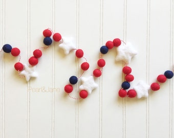Patriotic Felt Ball and Star Garland, Bunting, Banner - Navy, Red, White - READY TO SHIP!!