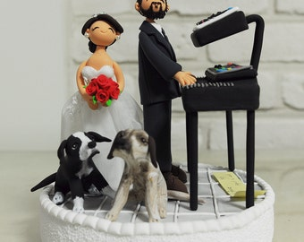 Musician couple with Key board custom wedding cake topper