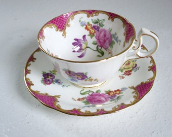 Vintage Pink Tea Cup and Saucer, Aynsley Pink Lavender Floral, Vintage Tea Cups, English Bone China Teacup Set, Vintage Teacup and Saucer
