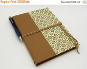 MOVING SALE Refillable Journal, Notebook, Sketchbook, 8x6 inches, Light Brown Geometric with Suede Cord and Interior Pocket