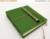 MOVING SALE Hardcover Sketch Book, Art Journal, Kelly Green with Suede Strap, In Stock