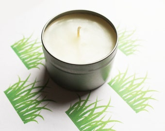 Fresh Cut Grass Scented Candle - Vegan Candle - Homemade Candles - Natural Candles - Tin Candle - Container Candle