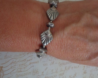 """Handmade Artisan Bali Sterling Silver Beaded Bracelet w/ Small Toggle Clasp, 7 1/2"""" Sterling Silver Jewelry"""