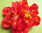 Flamenco ORANGE Two peonies flowers - Hair clip -
