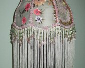 Victorian Dusty Green Floral Lampshade Long Fringe Pink & Green Acrylic Beaded Fringe