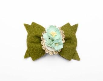 Moss Green || Floral Cameo || Hair Clip or Headband