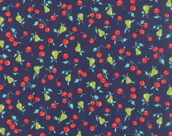 Vintage Picnic Fabric  - Bonnie Camille Fabric - Floral Cherries Pears Dark Blue - 55123 16