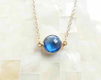 Round Step-Cut Faceted Sapphire Blue Quartz Vermeil Bezel Connector Gold Chain Necklace (N1752)