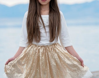 Girls gold skirt, Girls gold Sequin Tutu,gold petti skirt, gold tutu skirt, baby first birthday, sequined tutu skirt, pettiskirt