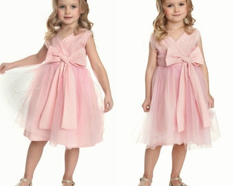 Pink Flower girl dress,Rustic flower girl, country flower girl, Girls dress,Pink tulle dress, Easter dress,pink dress, Flower girl dresses