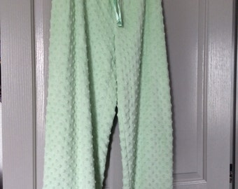 pants plus size fleece green 2X for PJ/loungewear/Street new satin drawstring elastic waist/also available in pink listed separately