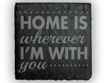 Coasters Slate Square Set of 4 - 2385 Home is wherever I'm with you