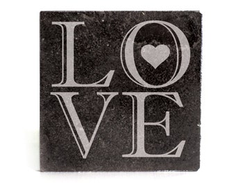 Coasters Set of 4 - black granite laser - 9941 LOVE