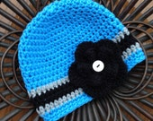 Carolina Panthers Football Beanie Hat/Football Hat (fits baby to adult)